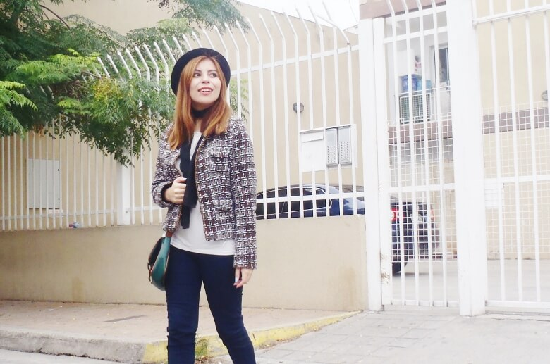 tweed-jacket-skinny-tie-scarf-skinny-jeans-animal-print-stiletto-shoes-black-fedora-fall-winter2016-trends-deborah-ferrero-style-by-deb14