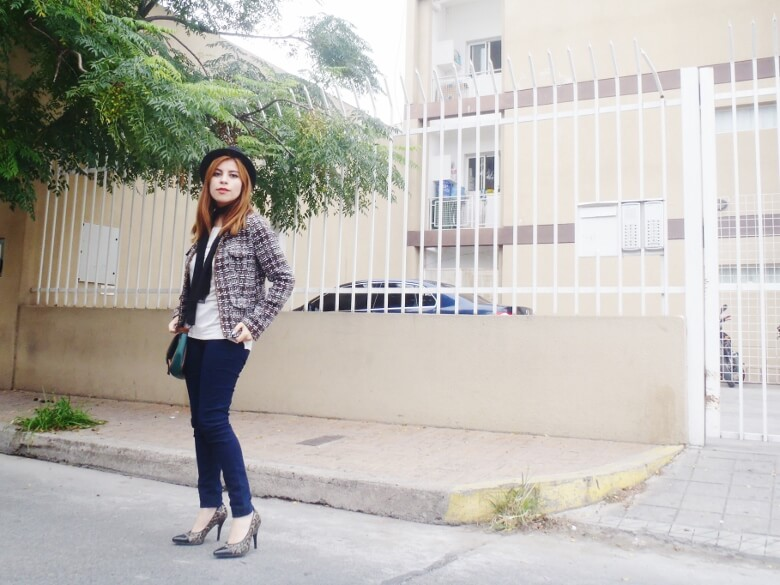 tweed-jacket-skinny-tie-scarf-skinny-jeans-animal-print-stiletto-shoes-black-fedora-fall-winter2016-trends-deborah-ferrero-style-by-deb15