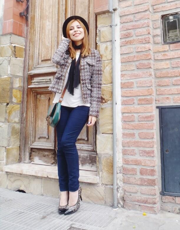 tweed-jacket-skinny-tie-scarf-skinny-jeans-animal-print-stiletto-shoes-black-fedora-fall-winter2016-trends-deborah-ferrero-style-by-deb16