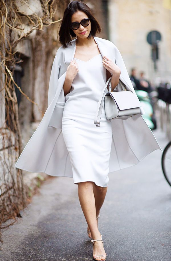 Minimal3 - all white outfit coat slip dress strapy sandals streetstyle fashion blogger how to wear slip dress trend 2016
