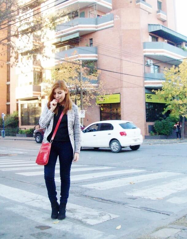 black and white patterned boyfriend blazer dark blue skinny jeans fall autumn 2016 trends fashion blogger salta argentina deborah ferrero style by deb 06