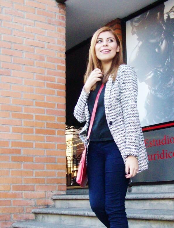 black and white patterned boyfriend blazer dark blue skinny jeans fall autumn 2016 trends fashion blogger salta argentina deborah ferrero style by deb 07