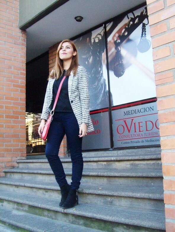 black and white patterned boyfriend blazer dark blue skinny jeans fall autumn 2016 trends fashion blogger salta argentina deborah ferrero style by deb 11