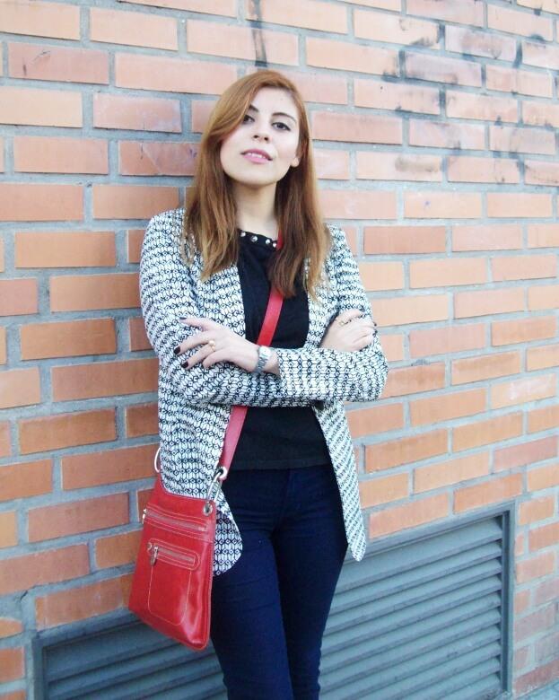 black and white patterned boyfriend blazer dark blue skinny jeans fall autumn 2016 trends fashion blogger salta argentina deborah ferrero style by deb 13