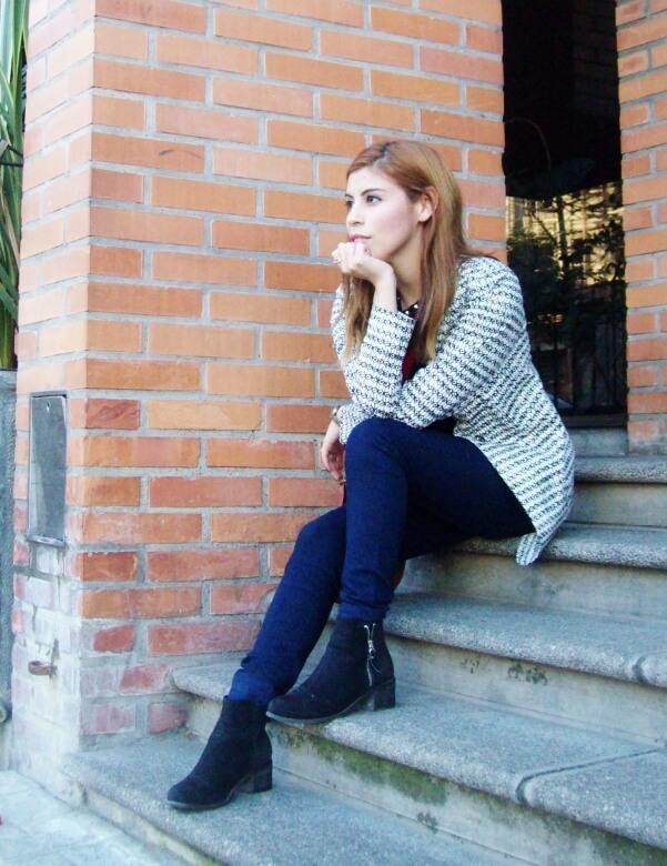 black and white patterned boyfriend blazer dark blue skinny jeans fall autumn 2016 trends fashion blogger salta argentina deborah ferrero style by deb 14