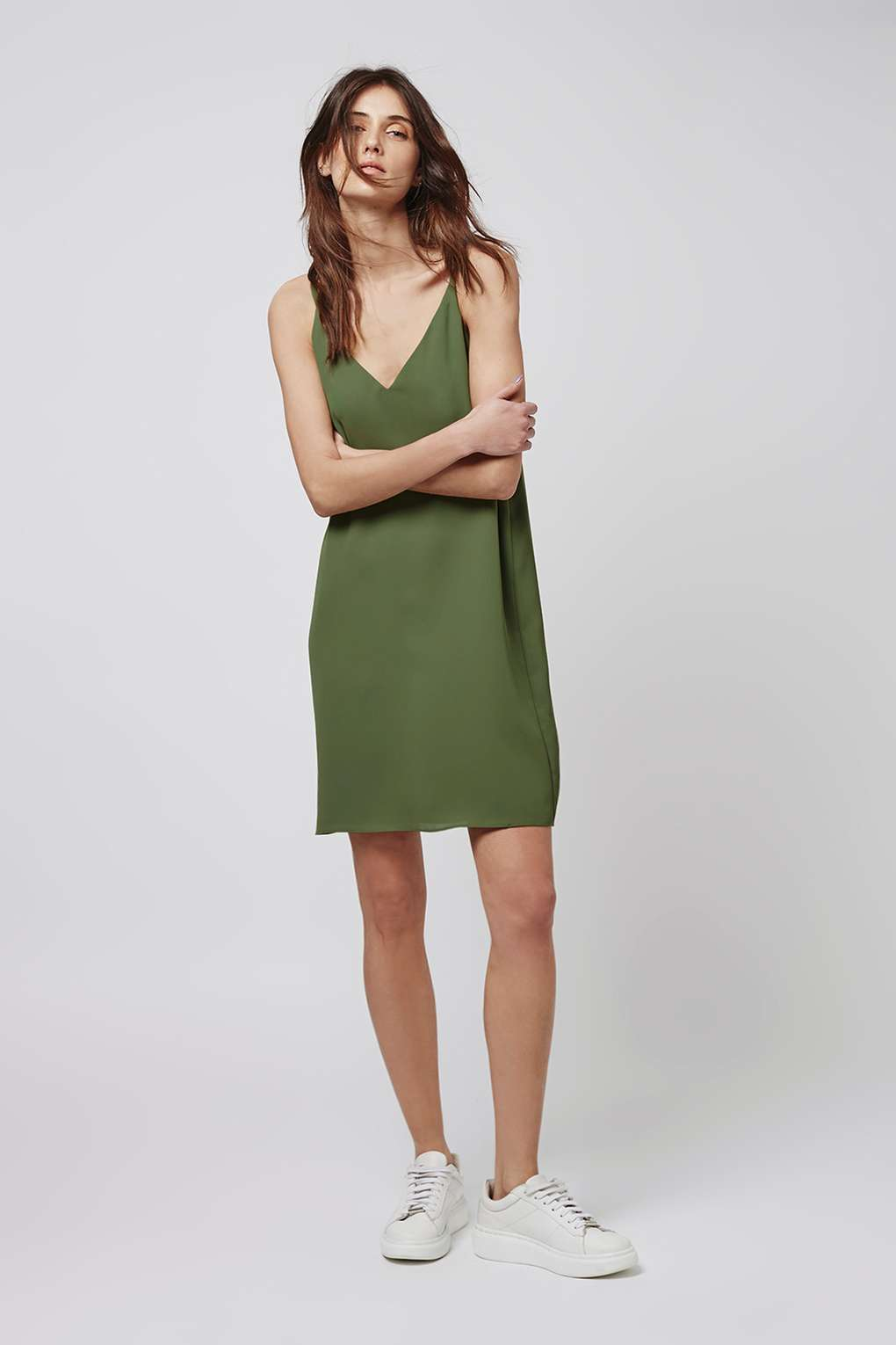 daytime5 - military olive green slip dress matte finish with white sneakers lookbook how to wear a slip dress srping summer 2016 trend (2)