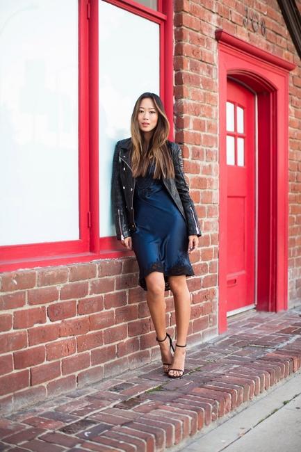 grunge4 - blue slip dress aimee song fashon blogger streetstyle biker leather jacket fashion blogger streetstyle how to wear slip dress trend 2016