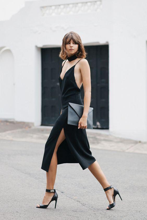 minimal5 - lbd black slip dress black sandals skinny scarf streetstyle how to wear slip dress trend 2016