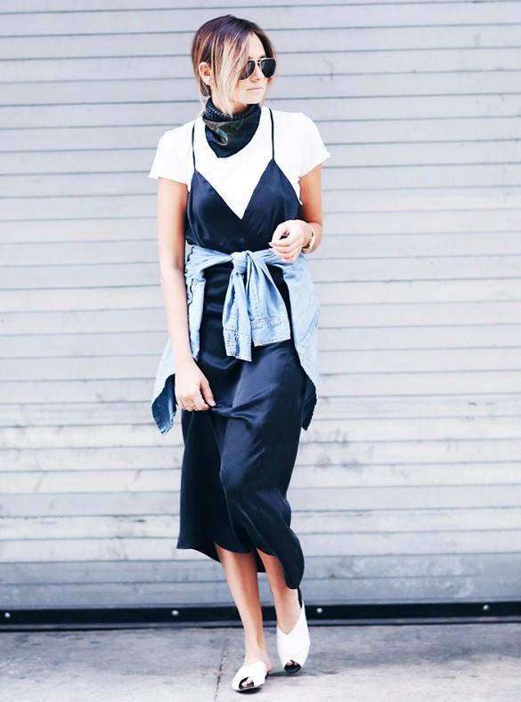 nineties3 - white tshirt black satin slip dress layering skinny scarf fashion blogger streetstyle how to wear slip dress trend 2016