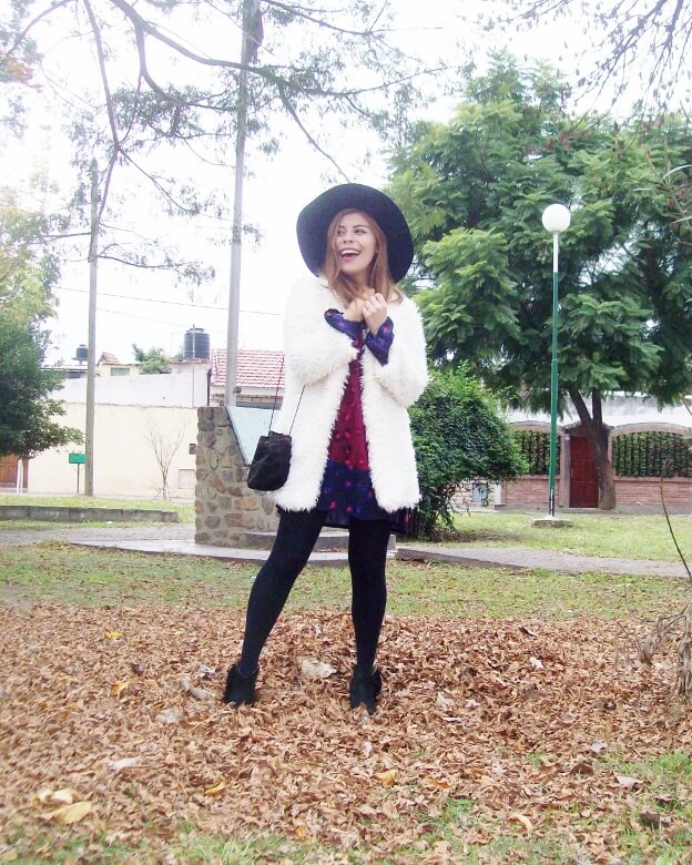 white faux fur coat newchic a line printed dress black tights fringed ankle booties happiness boutique necklace zaful wide trim fedora hat streetstyle deborah ferrero style by deb fall trends03