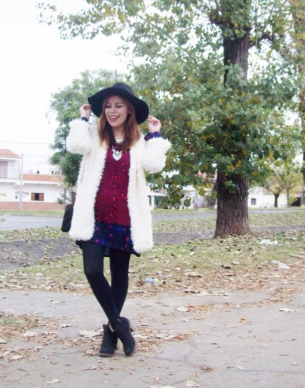 white faux fur coat newchic a line printed dress black tights fringed ankle booties happiness boutique necklace zaful wide trim fedora hat streetstyle deborah ferrero style by deb fall trends05
