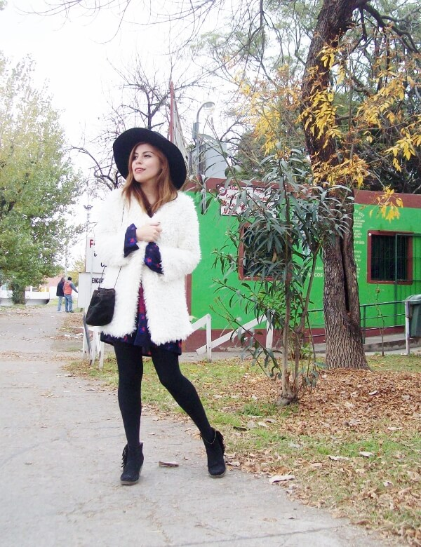 white faux fur coat newchic a line printed dress black tights fringed ankle booties happiness boutique necklace zaful wide trim fedora hat streetstyle deborah ferrero style by deb fall trends11