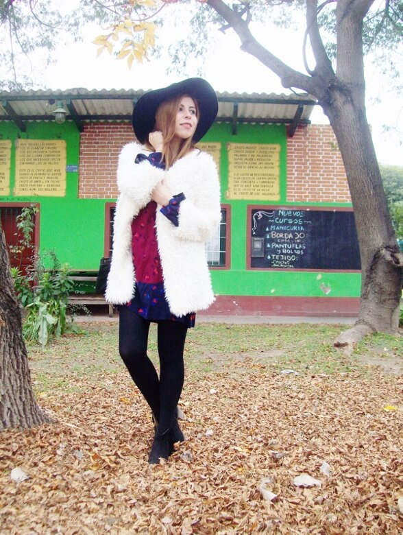 white faux fur coat newchic a line printed dress black tights fringed ankle booties happiness boutique necklace zaful wide trim fedora hat streetstyle deborah ferrero style by deb fall trends13