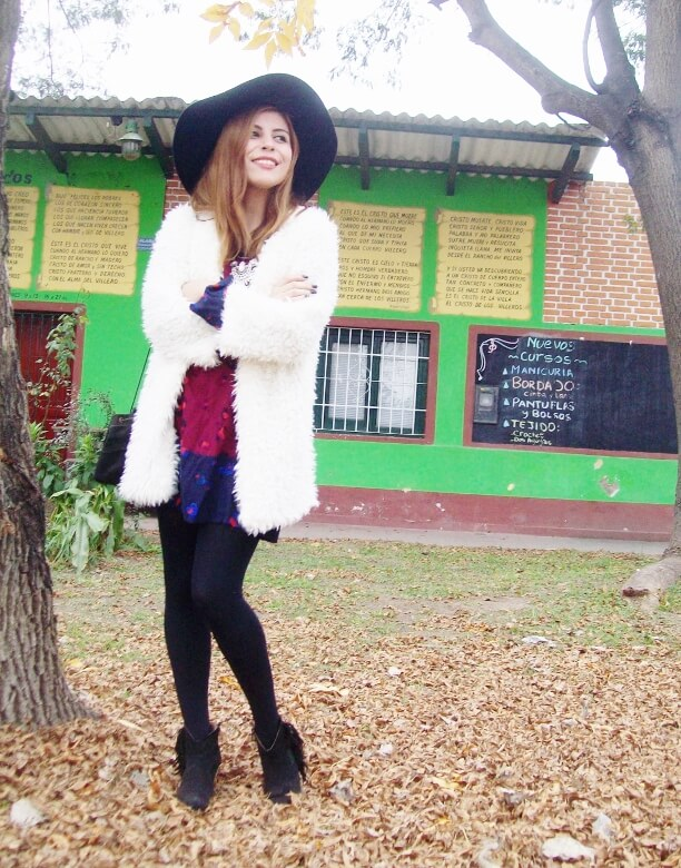 white faux fur coat newchic a line printed dress black tights fringed ankle booties happiness boutique necklace zaful wide trim fedora hat streetstyle deborah ferrero style by deb fall trends17