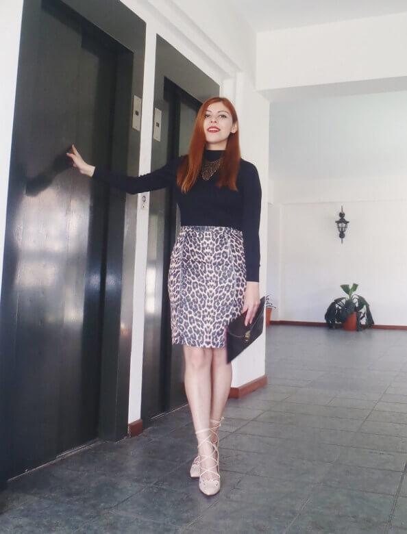 animal print pencil skirt black turtleneck zaful shoes laceup nude stilettos newdress leather clutch office chic style by deb deborah ferrero02