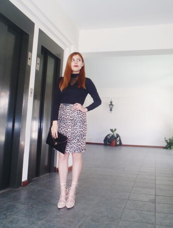 animal print pencil skirt black turtleneck zaful shoes laceup nude stilettos newdress leather clutch office chic style by deb deborah ferrero03