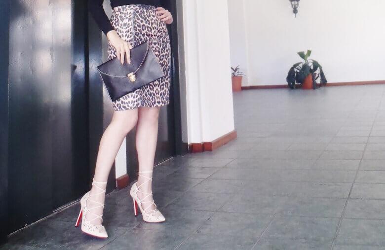 animal print pencil skirt black turtleneck zaful shoes laceup nude stilettos newdress leather clutch office chic style by deb deborah ferrero11