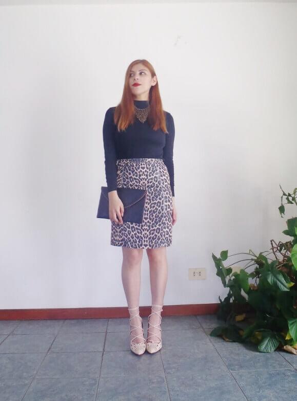 animal print pencil skirt black turtleneck zaful shoes laceup nude stilettos newdress leather clutch office chic style by deb deborah ferrero12