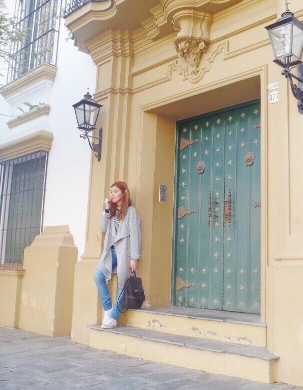 romwe gray long coat light blue jeans converse sneakers choker deborah ferrero streetstyle style by deb10
