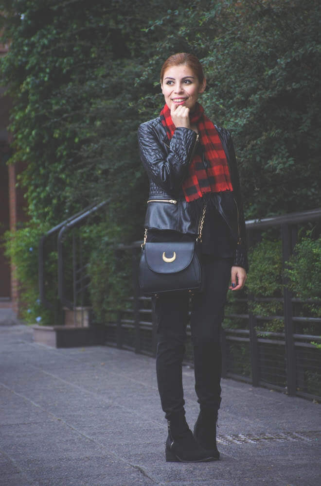 all black outfit zaful biker faux leather jacket newchic bag luna crossbody bag deborah ferrero style by deb03