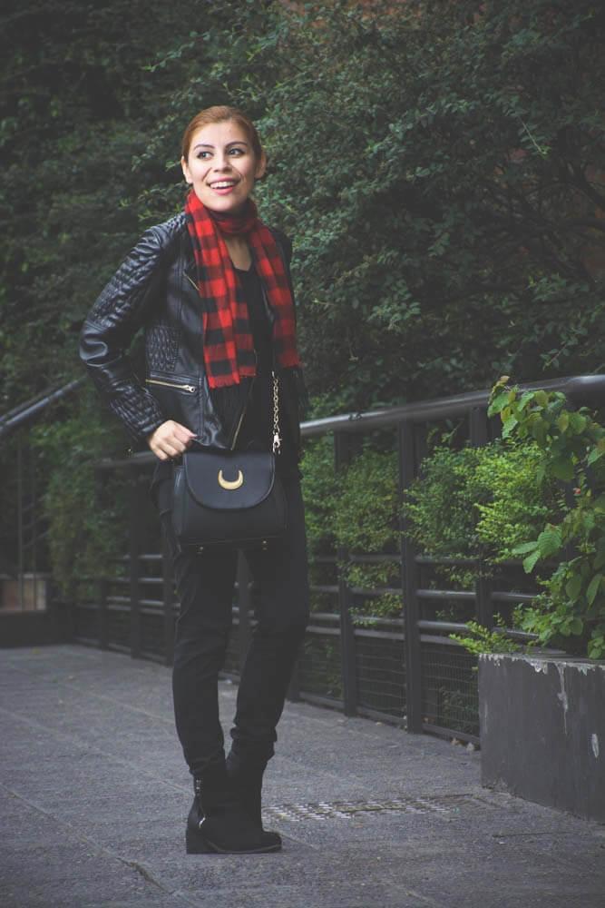 all black outfit zaful biker faux leather jacket newchic bag luna crossbody bag deborah ferrero style by deb04