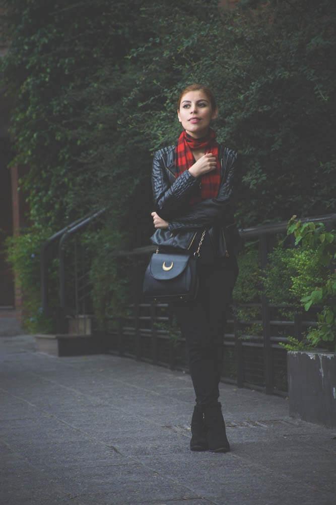 all black outfit zaful biker faux leather jacket newchic bag luna crossbody bag deborah ferrero style by deb10