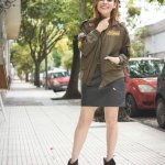 PATCHED BOMBER JACKET & FAUX-LEATHER SKIRT