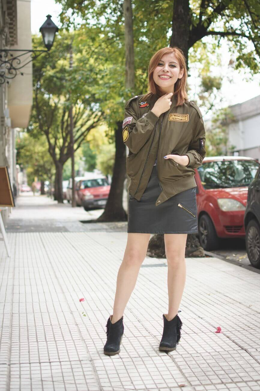 shein army green patched bomber jacket faux leather skirt deborah ferrero style by deb blogger argentina01