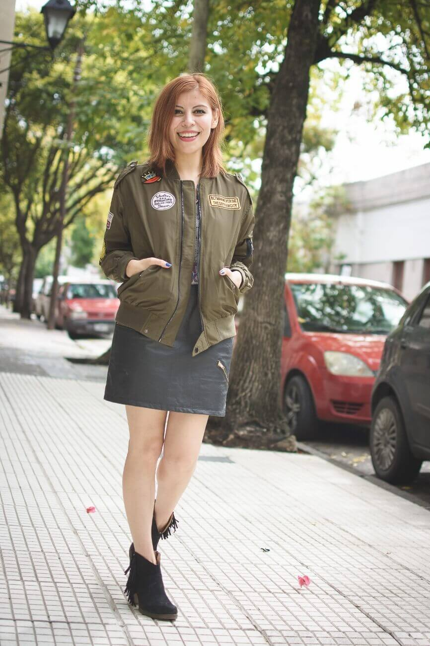shein army green patched bomber jacket faux leather skirt deborah ferrero style by deb blogger argentina02