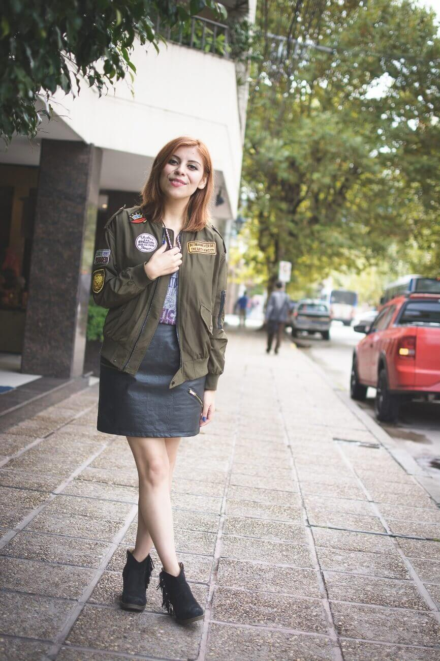 shein army green patched bomber jacket faux leather skirt deborah ferrero style by deb blogger argentina03