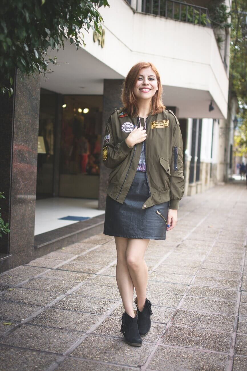 shein army green patched bomber jacket faux leather skirt deborah ferrero style by deb blogger argentina09