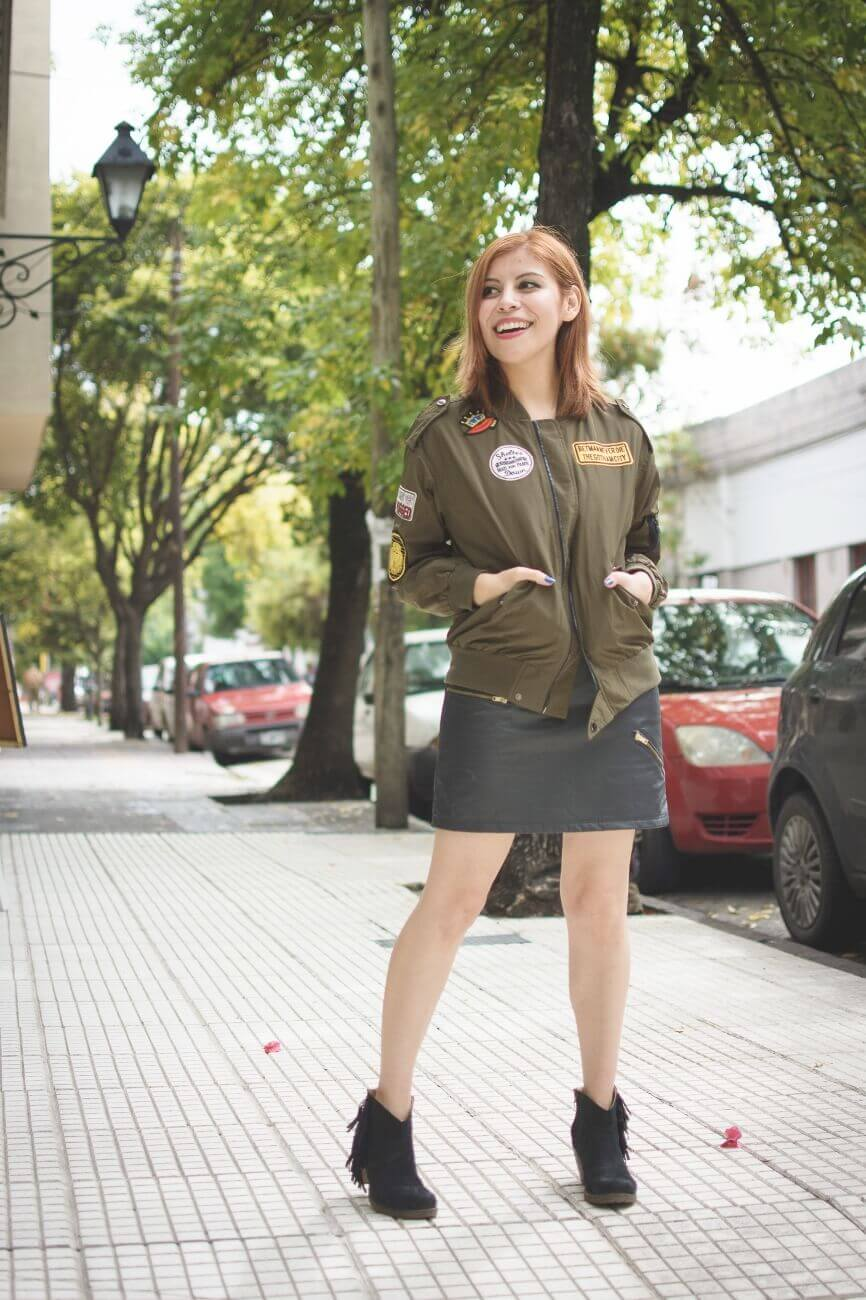 shein army green patched bomber jacket faux leather skirt deborah ferrero style by deb blogger argentina10