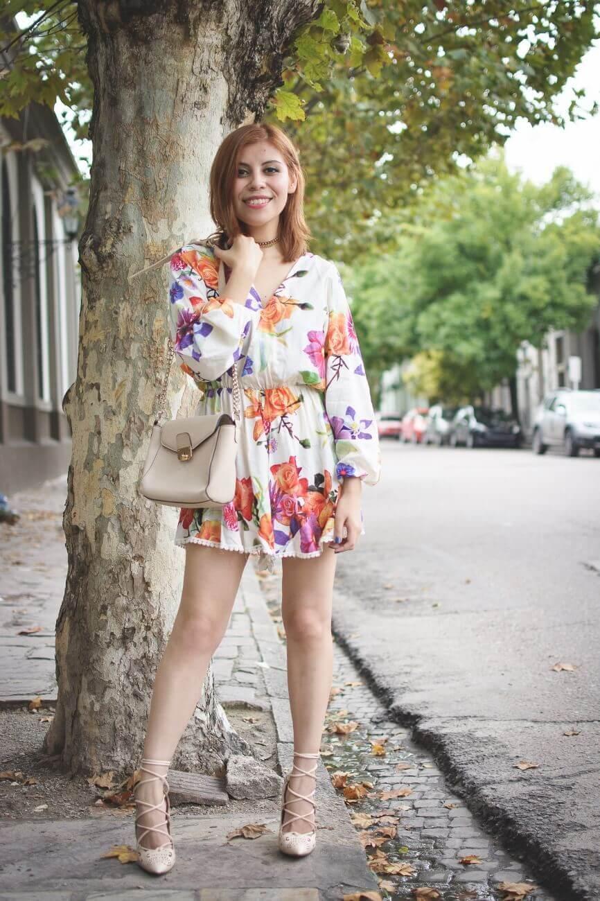 zaful floral romper nude lace up stiletto shoes laser cut pumps deborah ferrero streetstyle salta style by deb blogger argentina04