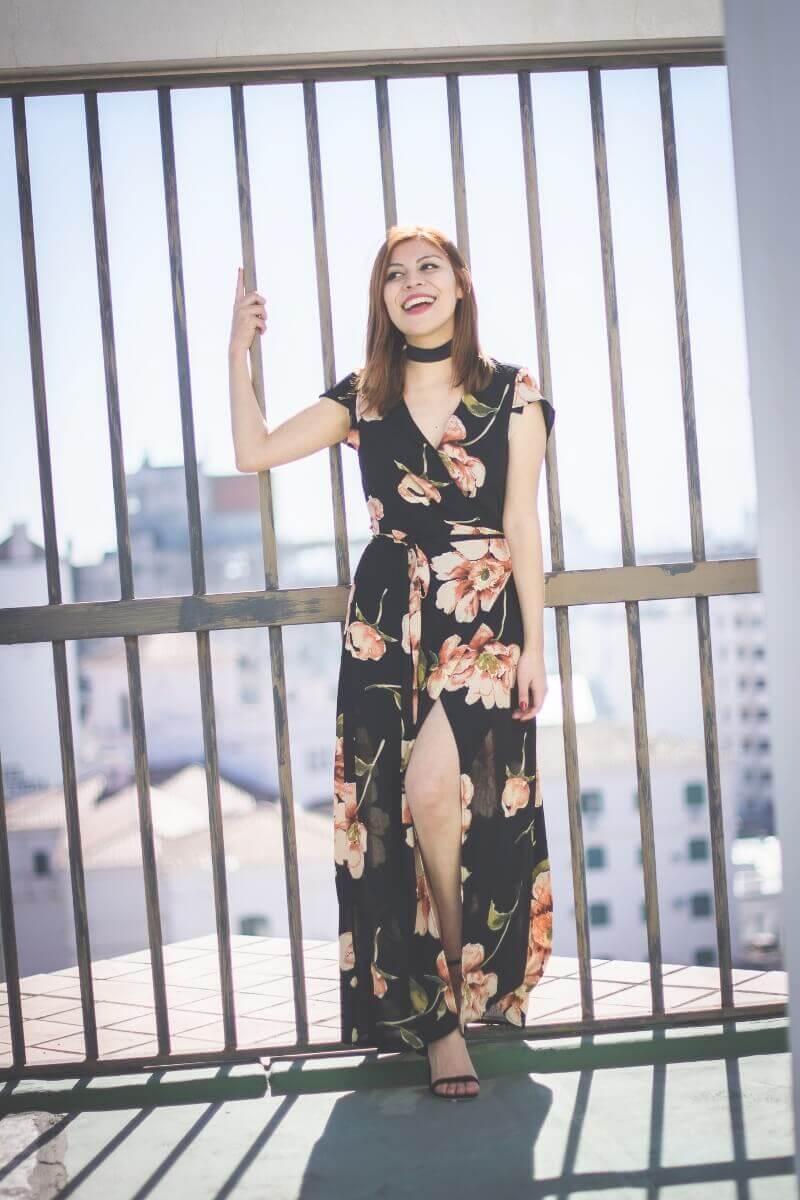 deborah ferrero fashion blogger argentina yoins floral wrap maxi dress review