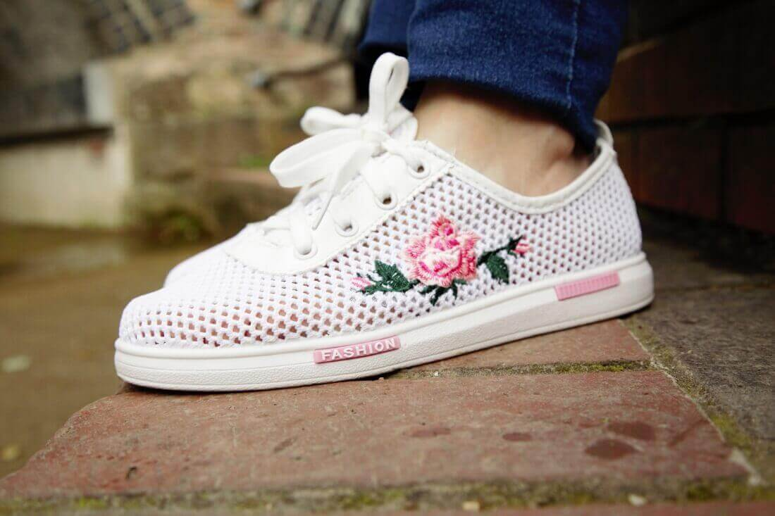 white sneakers mesh embroidered