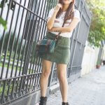 ARMY GREEN SUEDE SKIRT & ROCKER BOOTS