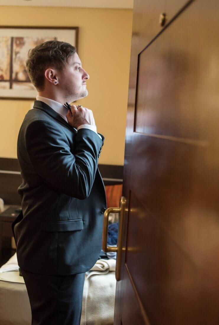Robert Howells groom getting ready
