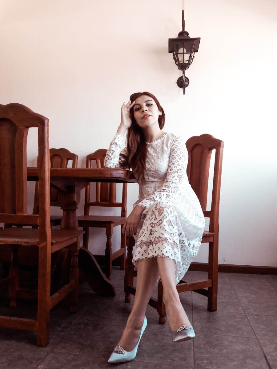 lace and favour shoes registry office wedding dress white lace deborah ferrero style by deb