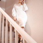 FEMMELUXE PINK JOGGERS & WHITE DRESS