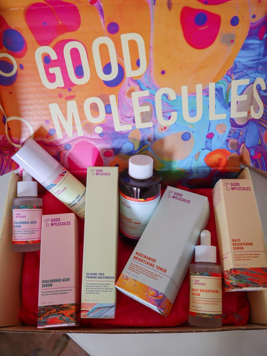 Good molecules skincare review silicone-free priming moisturiser hyaluronic acid serum daily brightening serum niacinamide brightening toner