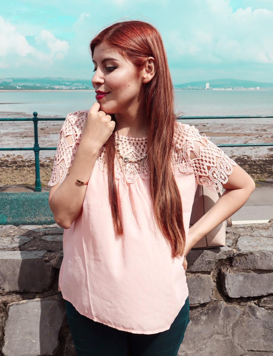 Dresslily pink crochet lace blouse