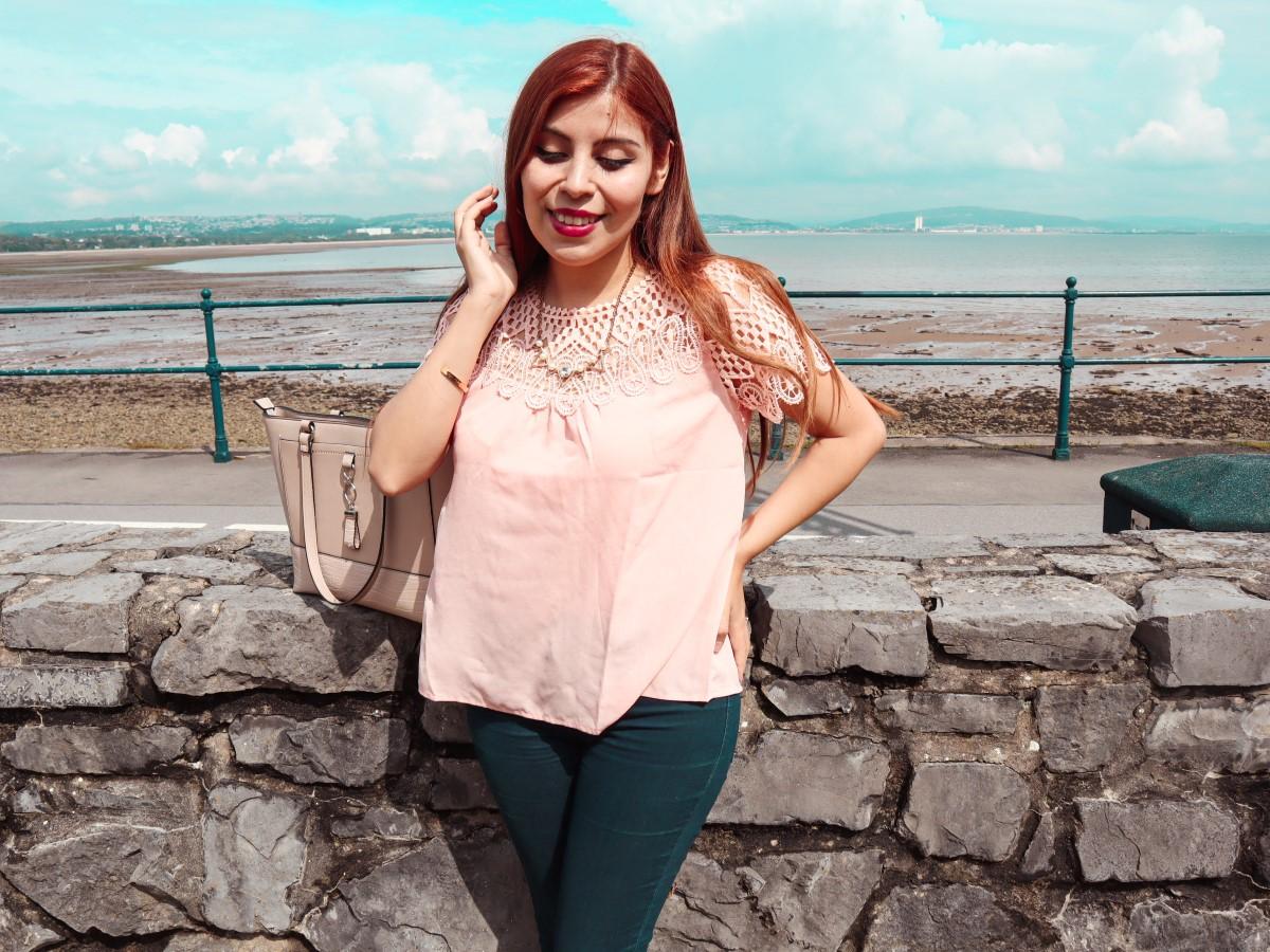 review pink crochet lace blouse