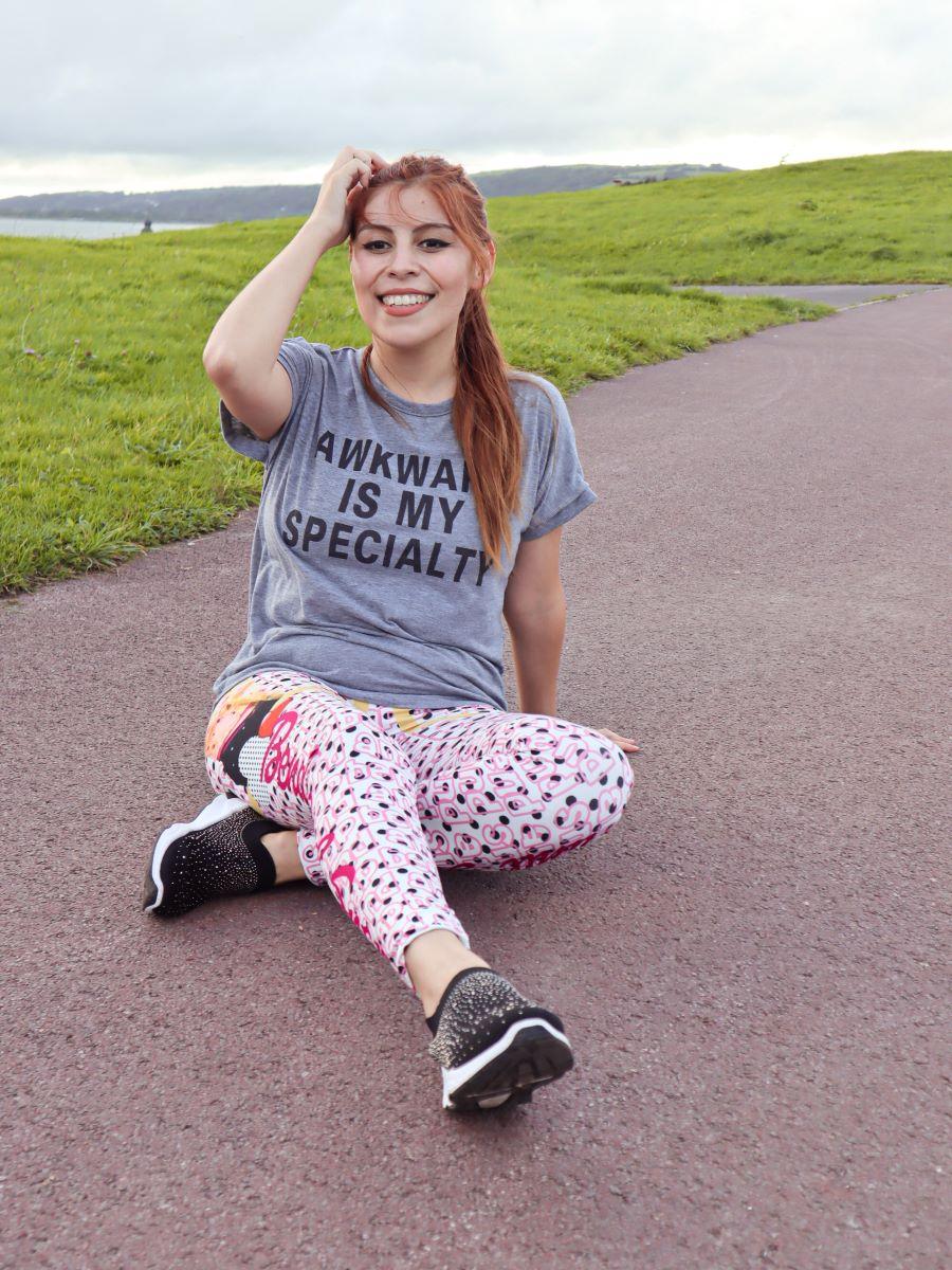 Girl resting from jogging in Kukubird leggings