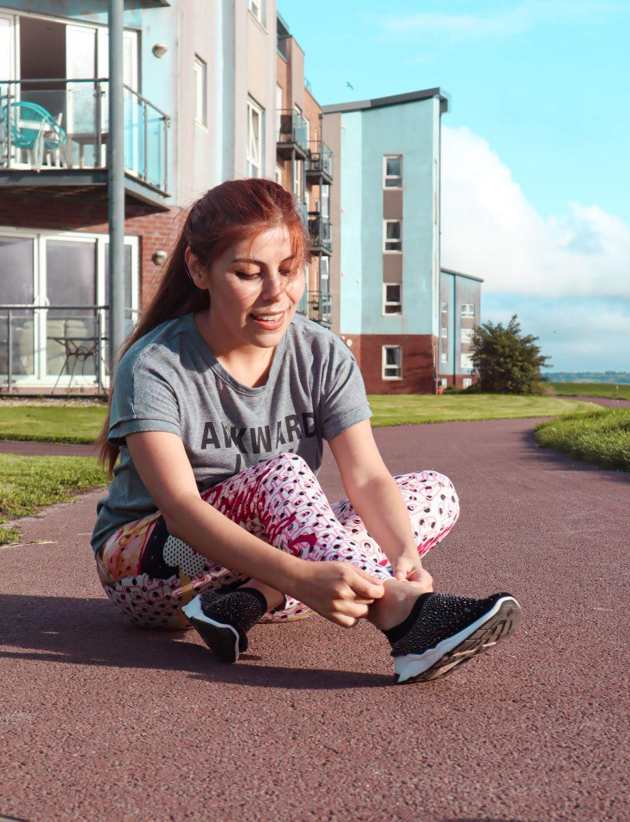 Girl getting ready to run