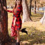 AUTUMN RED TARTAN DRESS