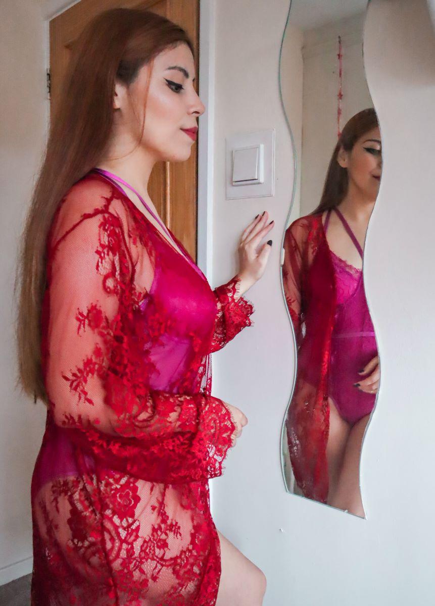 dresslily burgundy lace robe
