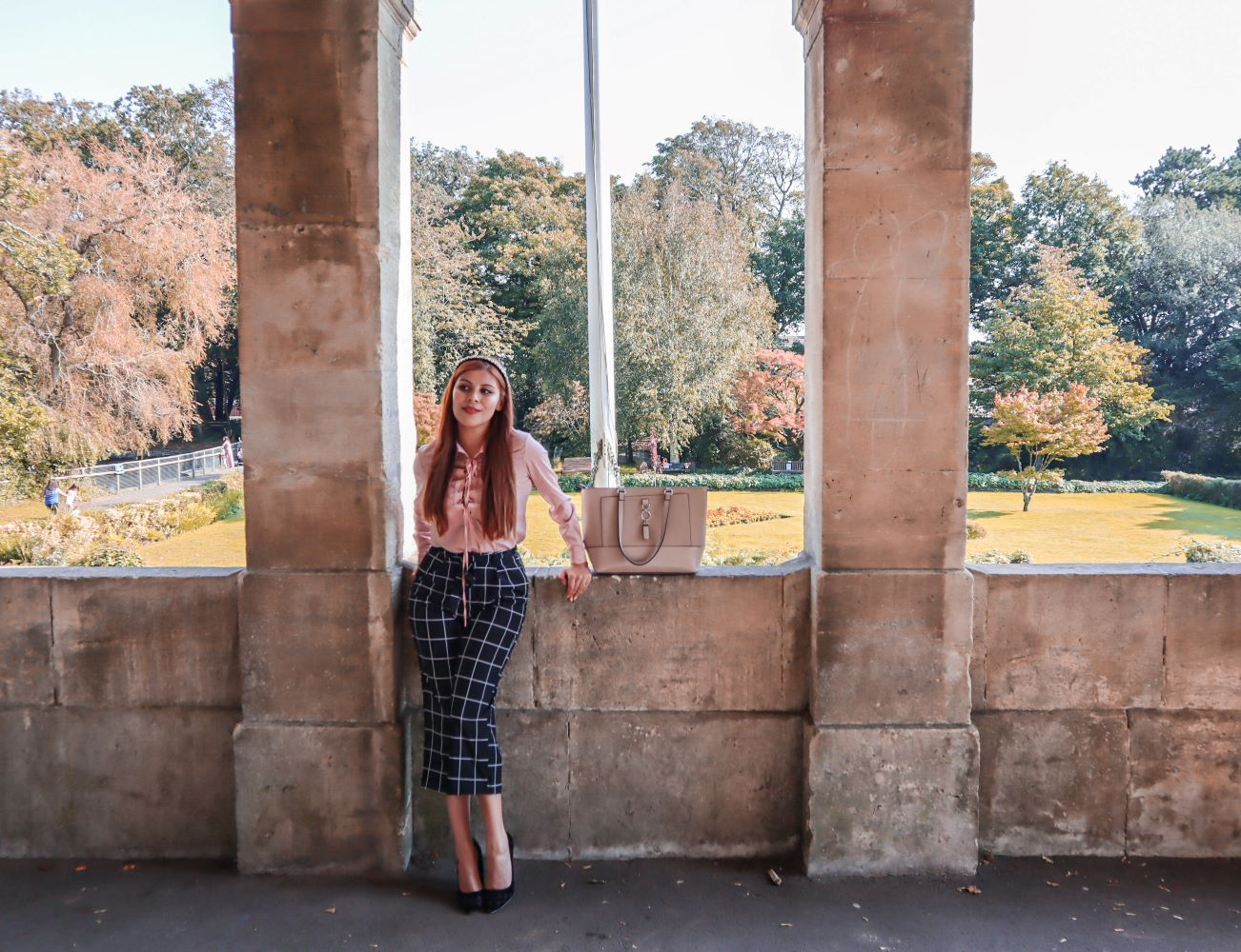 pink blouse checked culottes