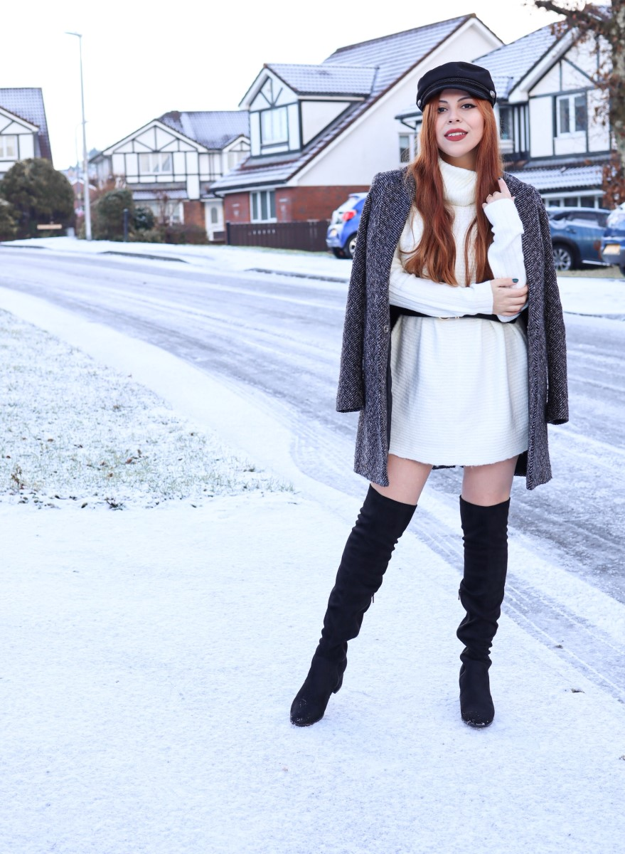 ootd snow thigh high boots style by deb white dress