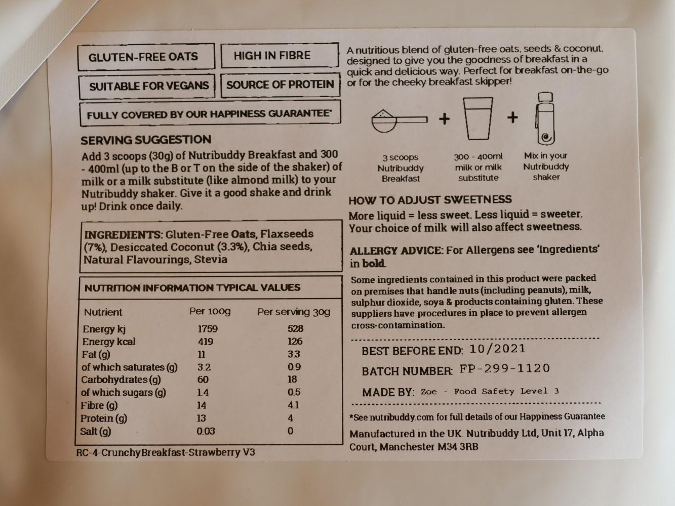 nutribuddy ingredients