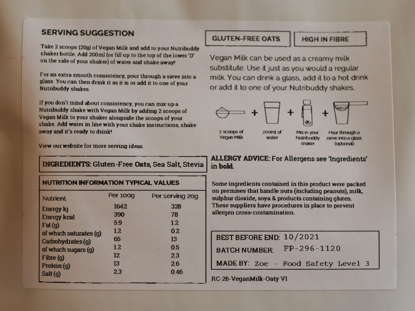 ingredient list and instructions